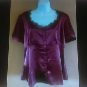 Chadwick's top 16 burgundy satin lace trim shirt